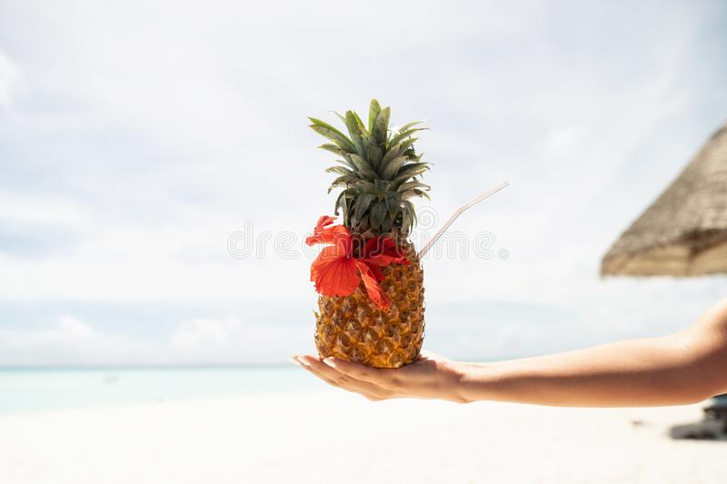 Pina Colada cocktail in pineapple in a female hand. The background is blurred stock photography