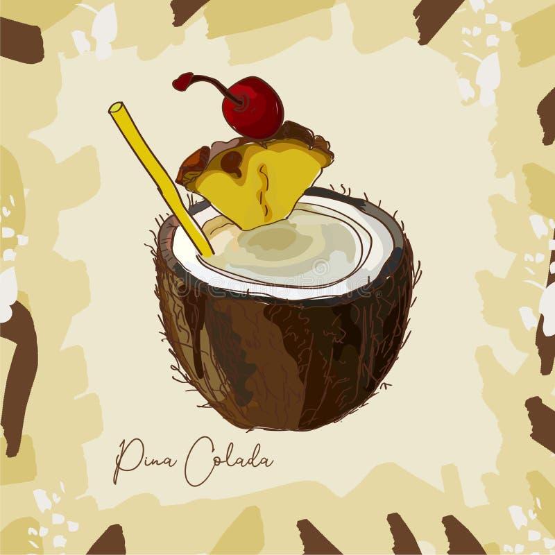 Pina Colada-cocktailillustratie De alcoholische getrokken vector van de bardrank hand Pop-art stock illustratie