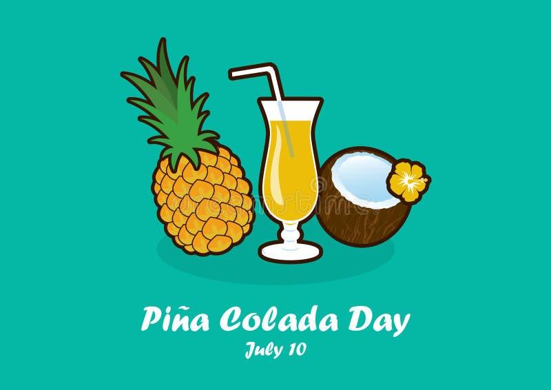 Pina Colada Day vektor vektor illustrationer