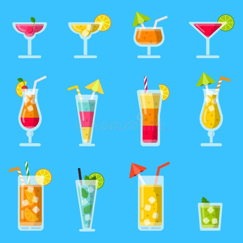 Pina colada, fruktsaft, mojito och andra olika alkoholiserade sommarcoctailar vektor illustrationer