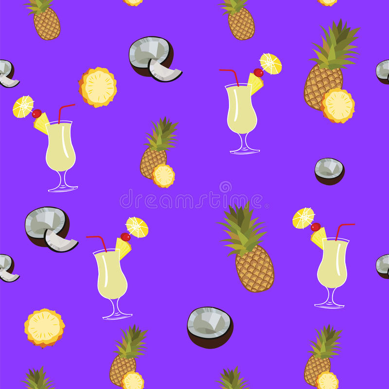 Pina Colada purple vector seamless pattern. Pineapple, coconut and Pina Colada. Cocktail seamless vector pattern on purple background stock illustration