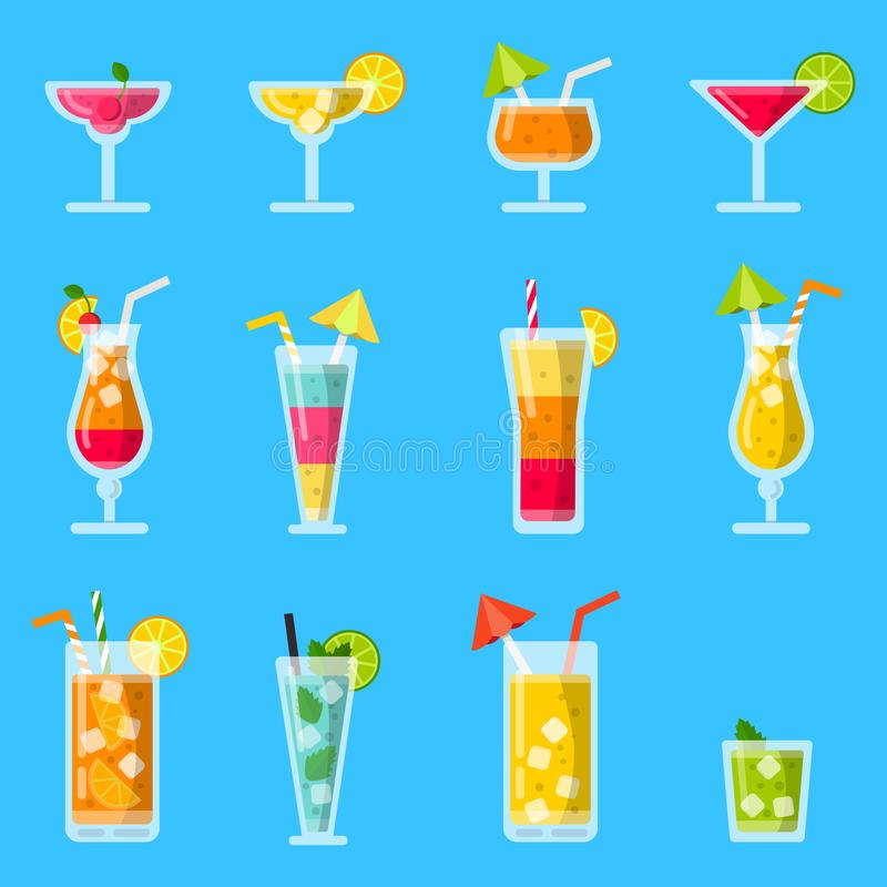 Pina colada, sok, mojito i inni różnorodni alkoholiczni lato koktajle, ilustracja wektor