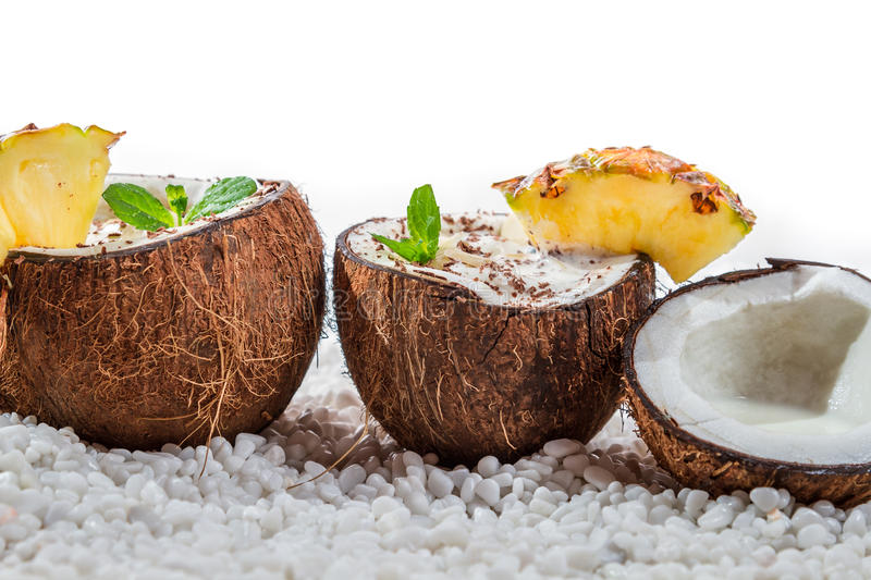 Pinacolada drink with chocolate and mint leaf
