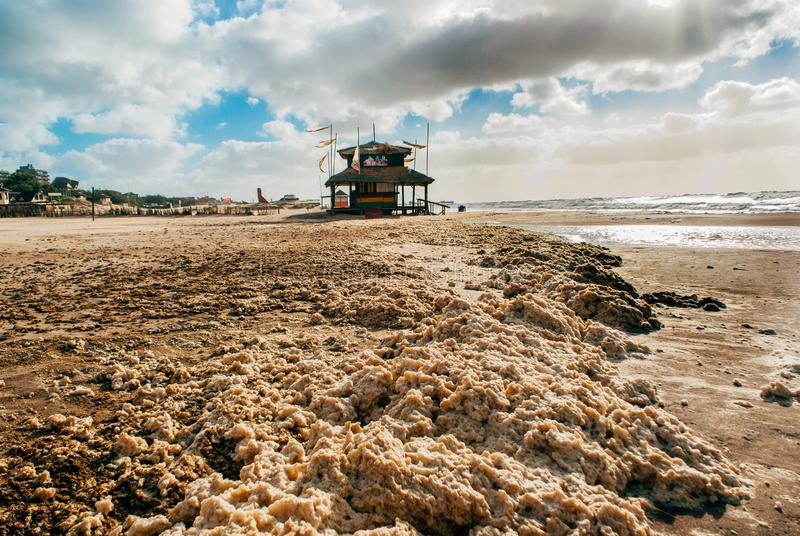 Pinamar Coastal Town Buenos Aires Argentina. Foam lying on the beach on a windy day in Pinamar, Argentina stock photos