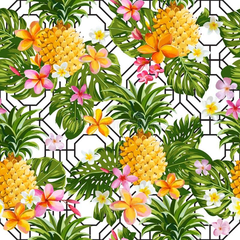 Pinapples y fondo tropical de la geometría de las flores libre illustration