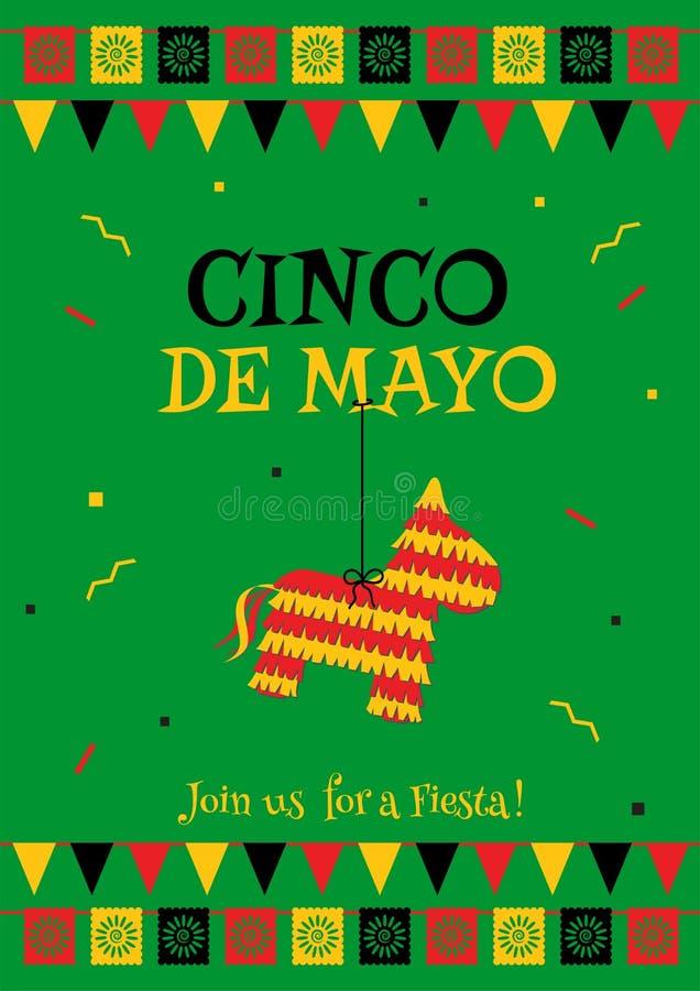 Pinata cinco de Mayo partii zielonej plakata szablon ilustracji