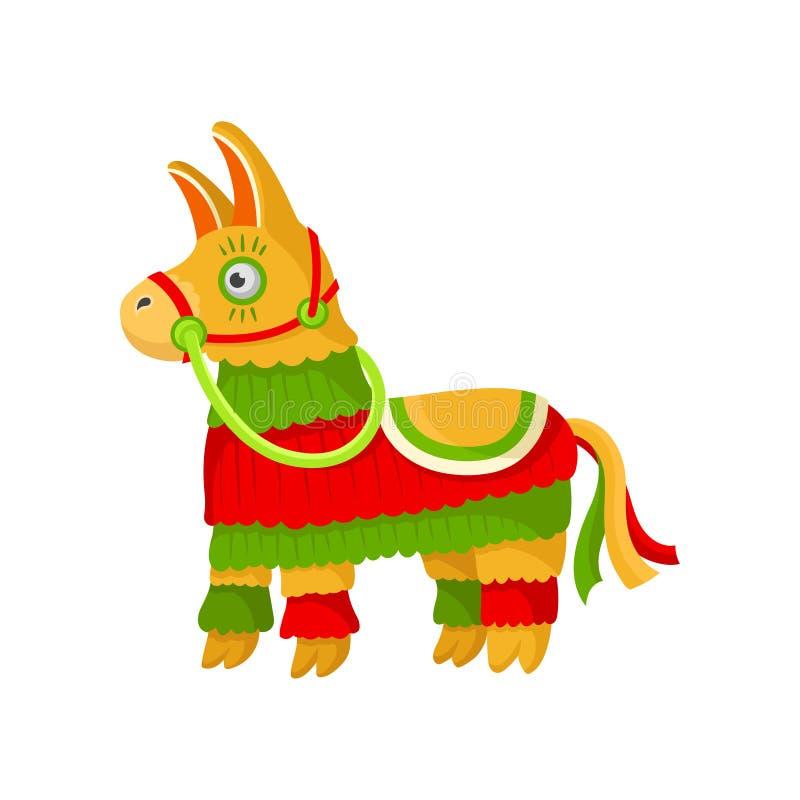 Pinata mexicain coloré rayé lumineux, symbole d'illustration de vecteur du Mexique sur un fond blanc illustration de vecteur