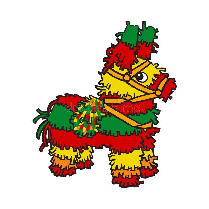 Pinata rayé brillamment coloré traditionnel de Mexicain illustration libre de droits