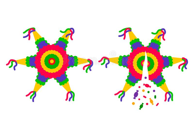 Pinata rayé lumineux d'étoiles de bande dessinée Confettis et sucrerie cassés Illustration plate simple mignonne de vecteur d'iso illustration stock