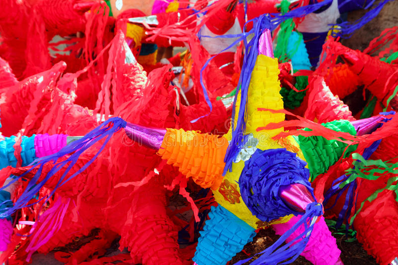 Pinatas star shape mexican traditional celebration. Colorful pinatas with star shape for mexican traditional party celebration royalty free stock photography