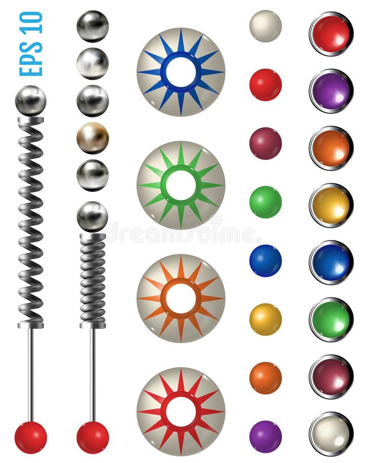 Pinball elements. Realistic set with different tools. Realistic colored pinball elements. Realistic pinball set with different tools. Game design and creative royalty free illustration