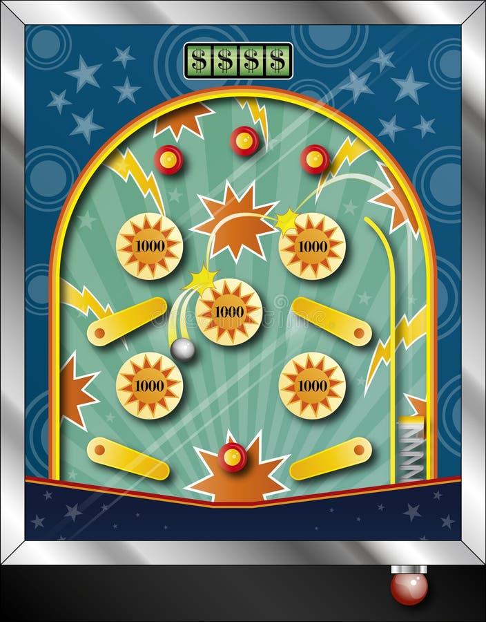 Pinball machine. Illustration with metal ball scoring points
