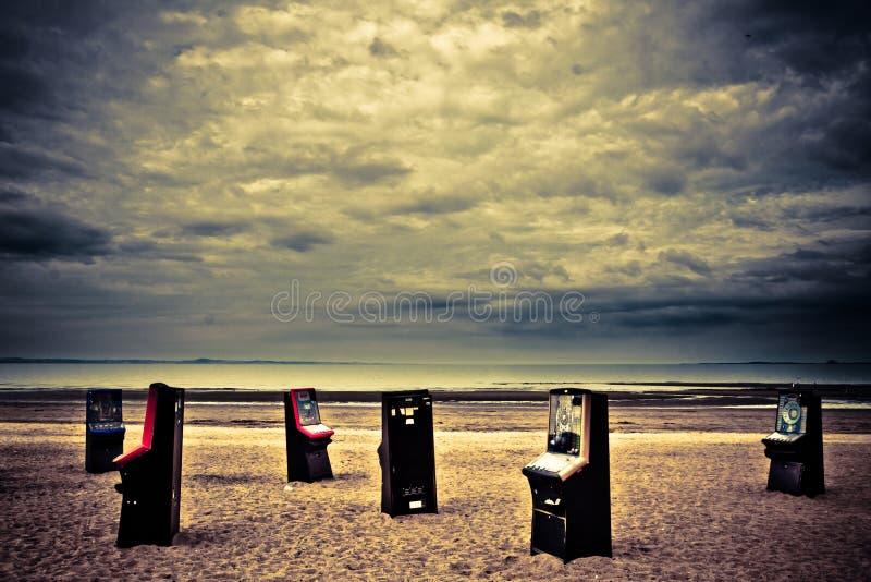 Pinball machine on Portobello beach stock photos