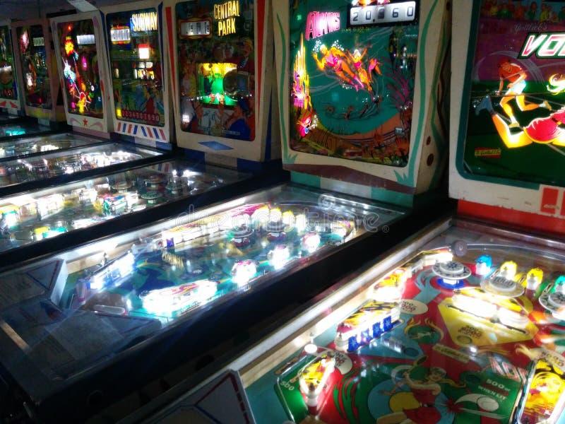 Pinball maszyny w Pinball hall of fame fotografia royalty free