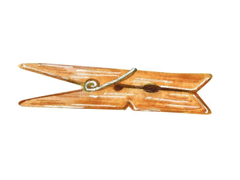 Pince à linge démodée en bois, illustration tirée par la main d'aquarelle illustration de vecteur