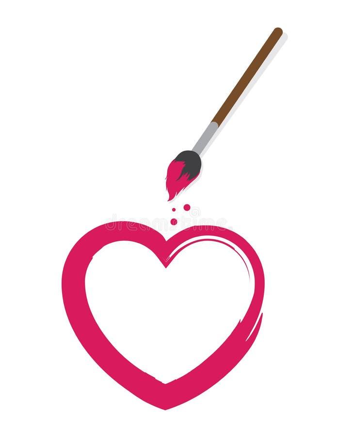 Pinceau de coeur illustration de vecteur