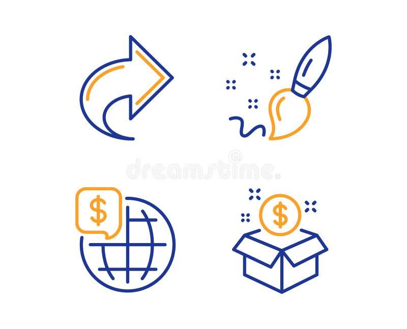 Pinceau de part, et ensemble d'icônes d'argent du monde Signe de paquet de courrier Lien, créativité, marchés globaux postbox Vec illustration stock