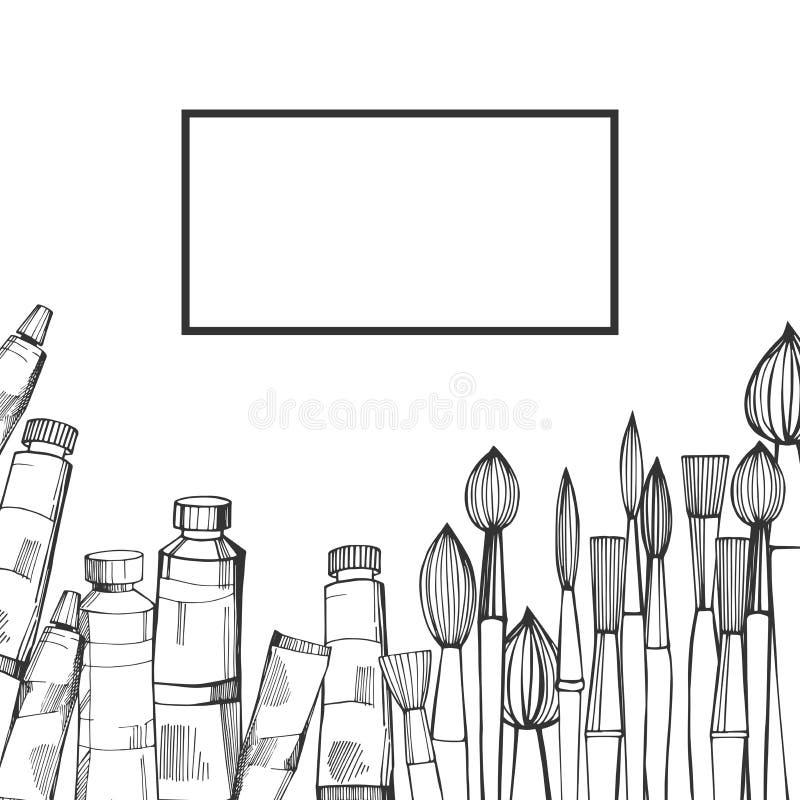 Pinceaux et peintures artistiques Illustration de croquis de vecteur illustration stock