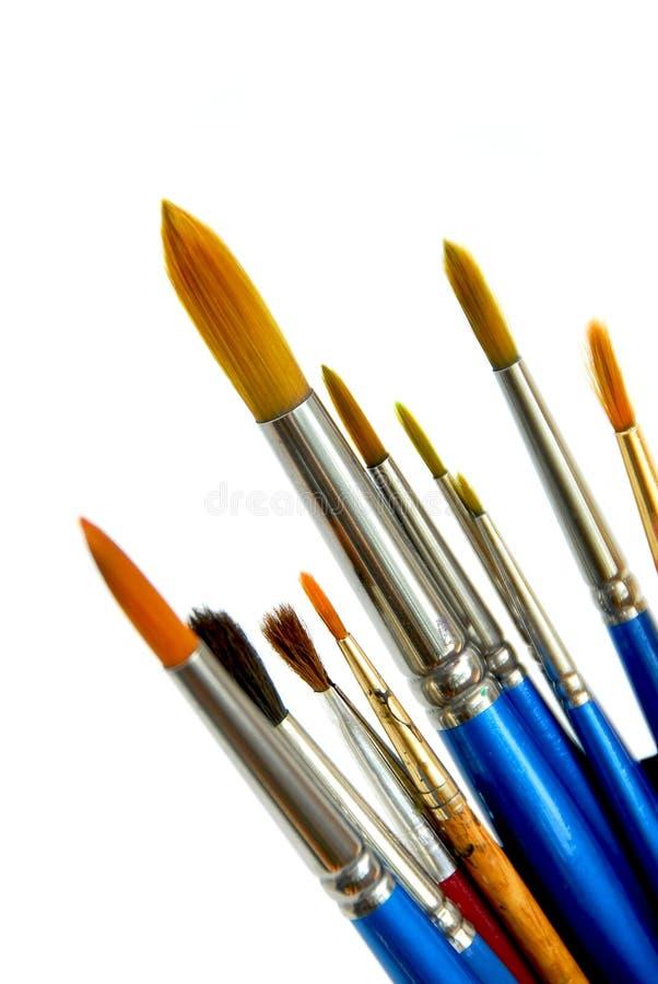 Pinceaux sur le blanc photographie stock libre de droits