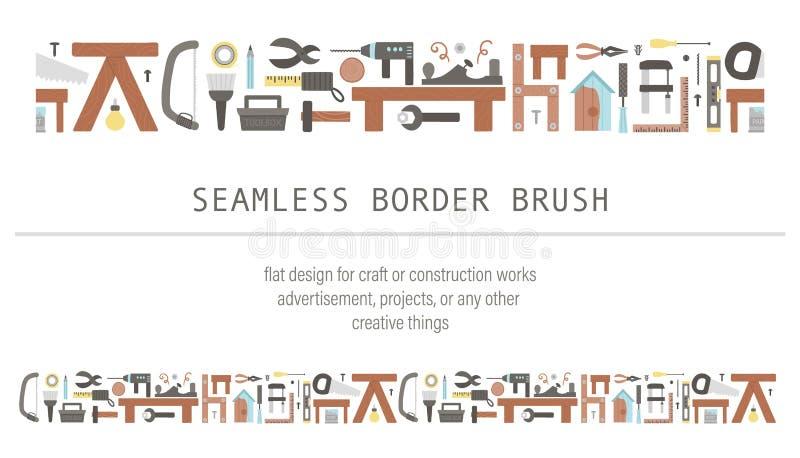 Pincel de borda sem descontinuidades de ferramentas vetoras Ilustração plana com construção, equipamento carpinteiro para cartaze ilustração stock