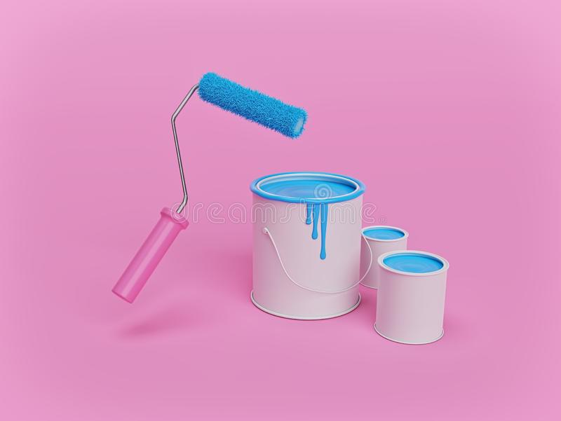 Pincel e latas de tinta em rolos isolados sobre fundo cor-de-rosa conceito de renovação do lar renderização 3d ilustração stock