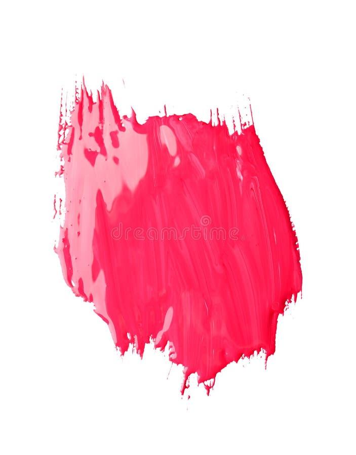 Pincelada abstracta de la pintura rosada aislada en blanco fotos de archivo libres de regalías