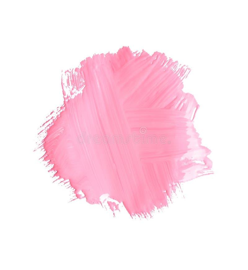 Pincelada abstracta de la pintura rosada en blanco foto de archivo libre de regalías