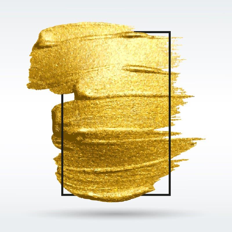 Pincelada de oro del vector Fondo de la luz de Wite Mancha con un cepillo de oro artístico Textura del grunge del oro en un marco libre illustration