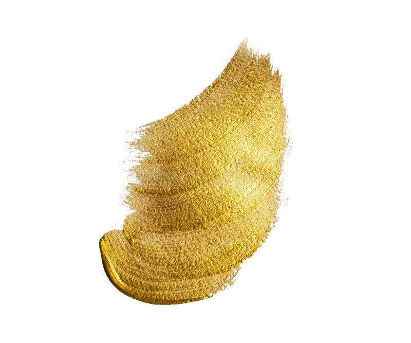 Pincelada del acrílico del oro imágenes de archivo libres de regalías
