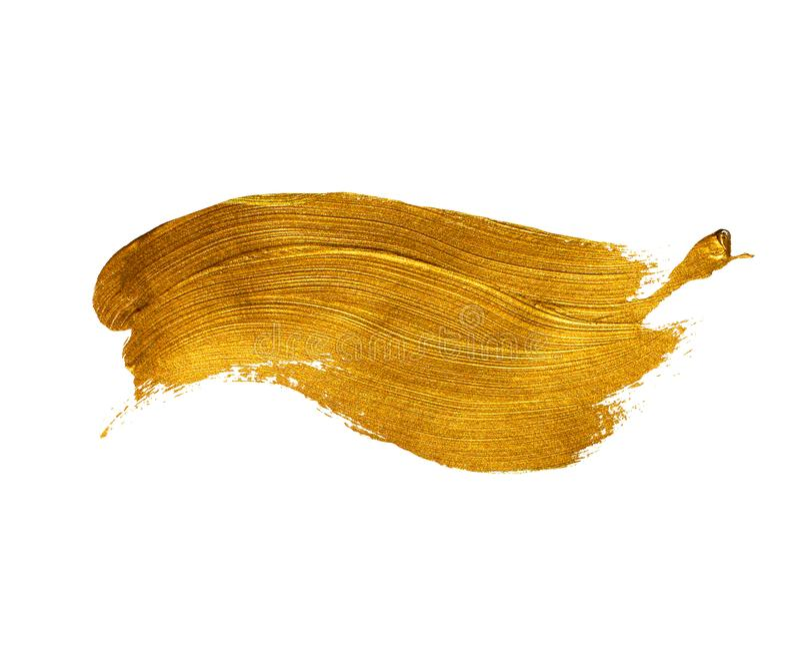 Pincelada del acrílico del oro imagen de archivo libre de regalías