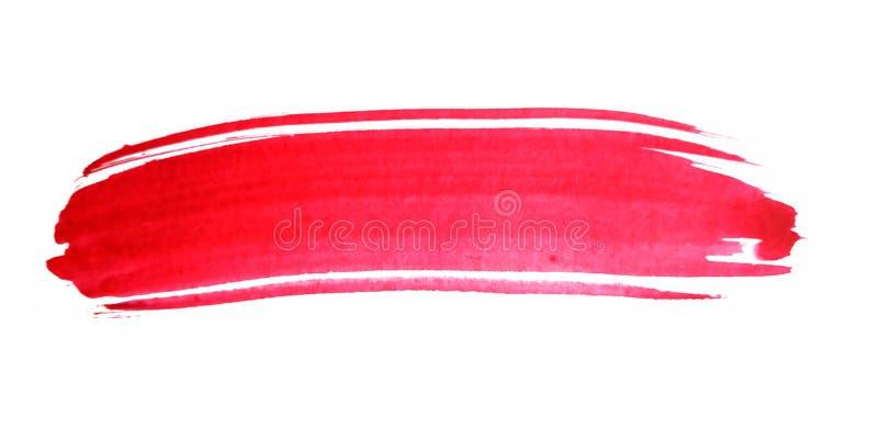 Pincelada roja de la acuarela stock de ilustración