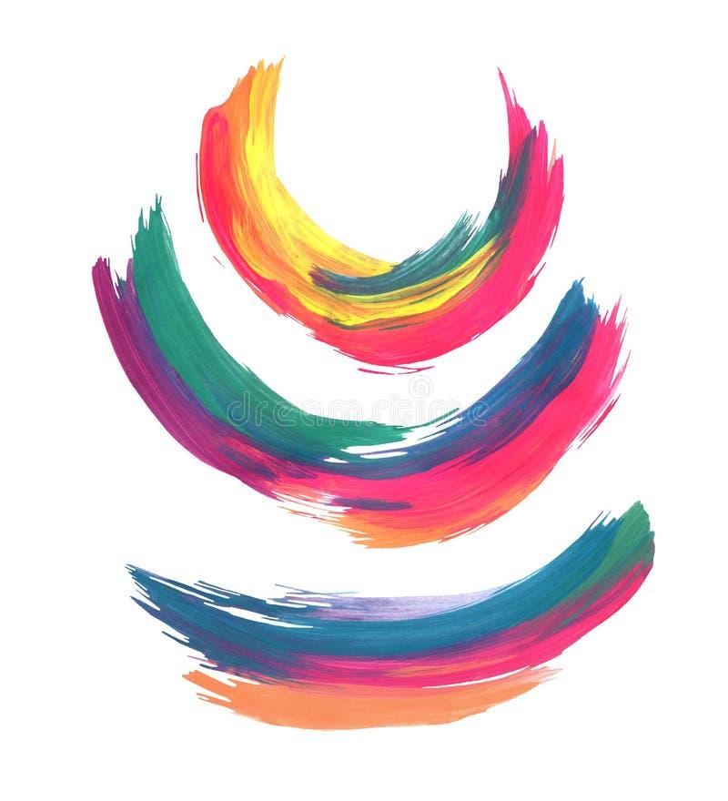 Pinceladas coloridas abstratas isoladas no fundo branco ilustração do vetor
