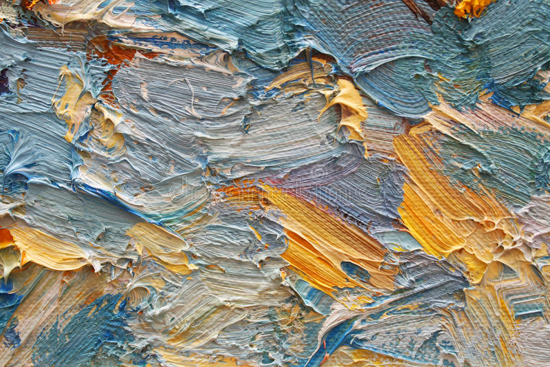 Pinceladas coloridas en petróleo en lona imagenes de archivo