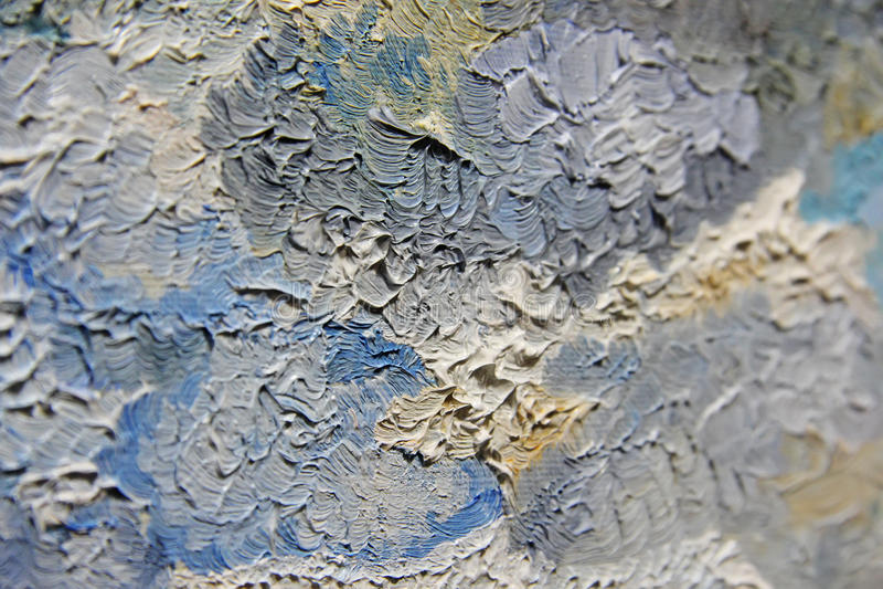 Pinceladas coloridos da pintura de óleo na lona fotografia de stock royalty free