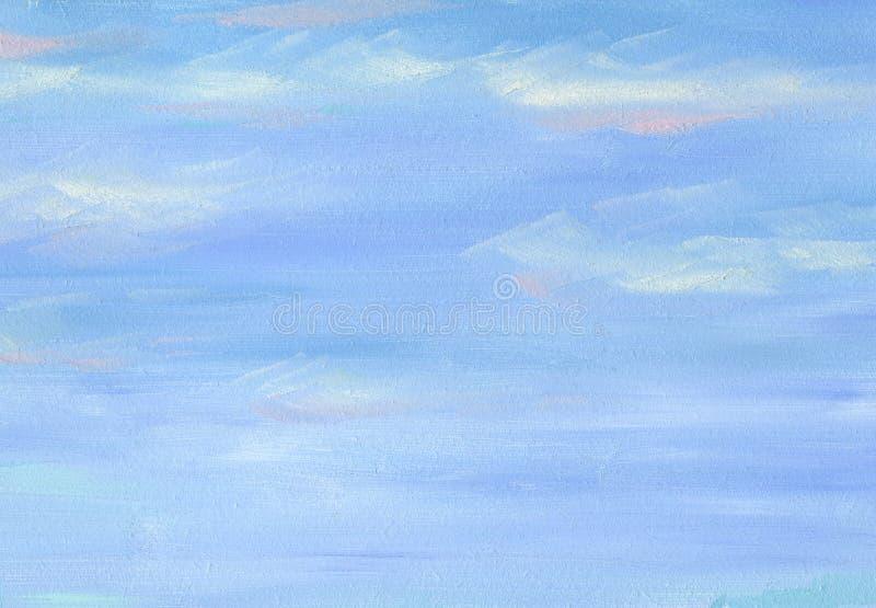 Pinceladas grandes da textura da pintura a óleo Céu do mar ilustração royalty free