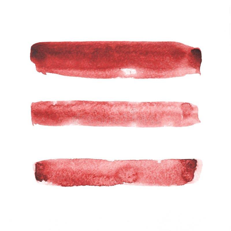 Pinceladas rojas de la acuarela fotografía de archivo