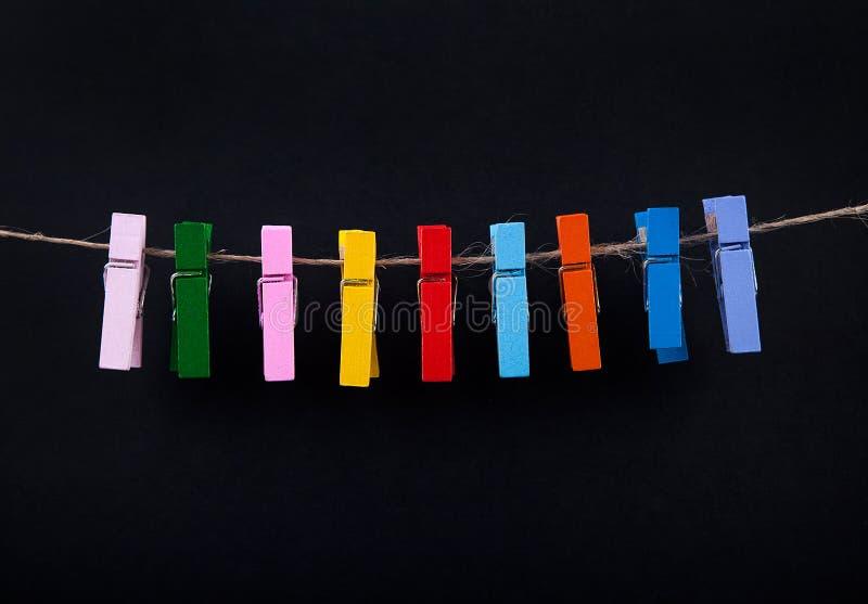 Pinces à linge sur la corde photos libres de droits