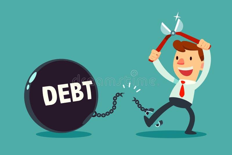Pinces d'utilisation d'homme d'affaires pour couper la chaîne et la boule en métal de dette illustration libre de droits