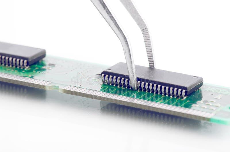 Pincett som rymmer den lilla delen för strömkretsbräde på vit royaltyfria foton