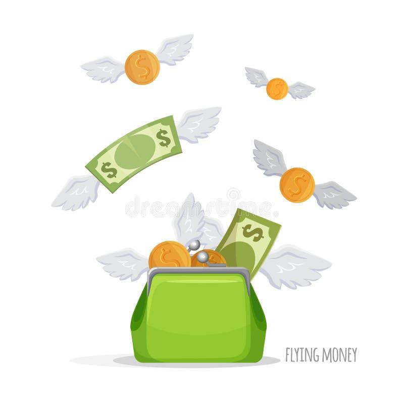 Pincez avec les billets d'un dollar volants et inventez l'affiche d'illustration illustration libre de droits