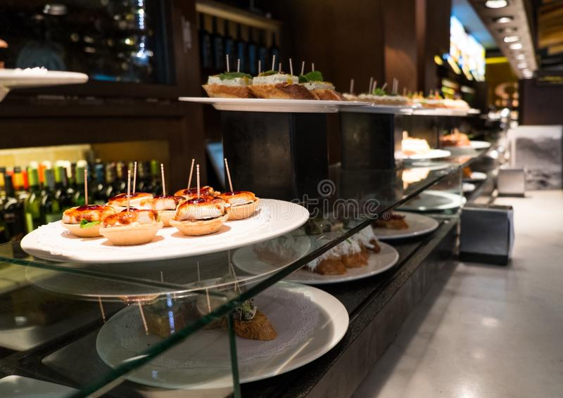 Pinchos on a plate royalty free stock photo