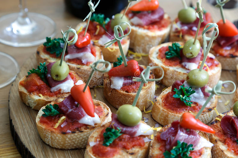 pinchos tapas spanish canapes party finger food stock photo image of background cheese. Black Bedroom Furniture Sets. Home Design Ideas