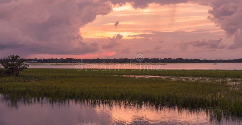 Sunset on Pinckney Island in South Carolina royalty free stock photo