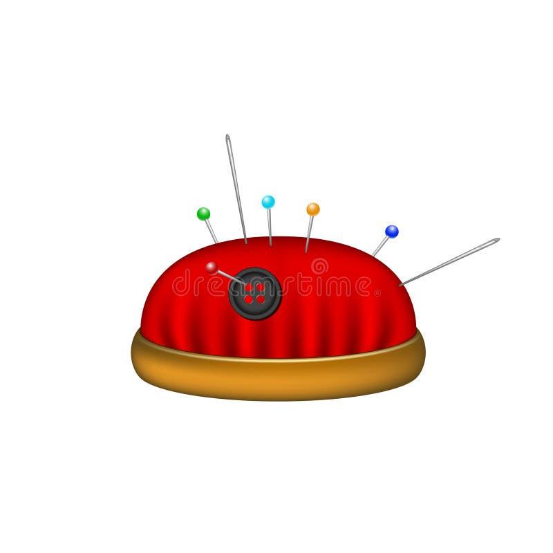 Pincushion w czerwonym projekcie z igłami i szpilkami royalty ilustracja