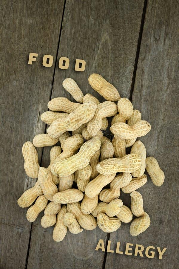 Pinda of aardnoot, conceptuele voedselallergie & gezondheid royalty-vrije stock afbeeldingen