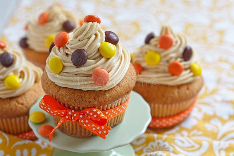 Pindakaas Cupcakes royalty-vrije stock foto's