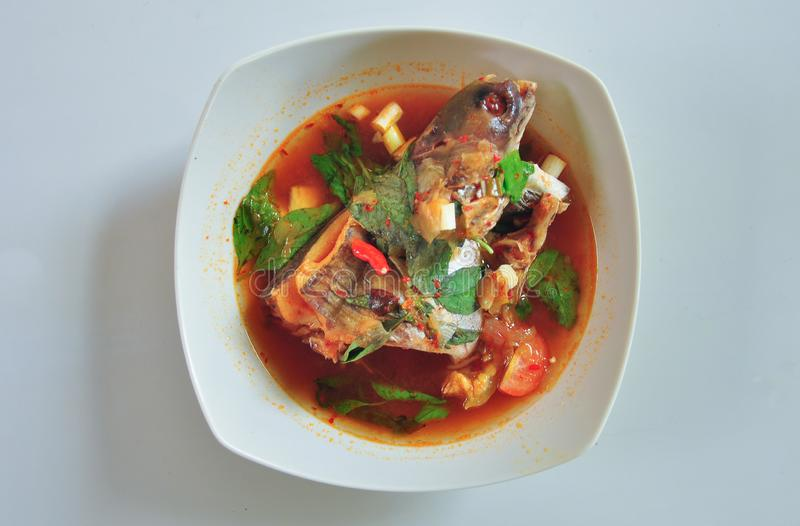 Pindang patin是一辣鱼汤从 库存照片