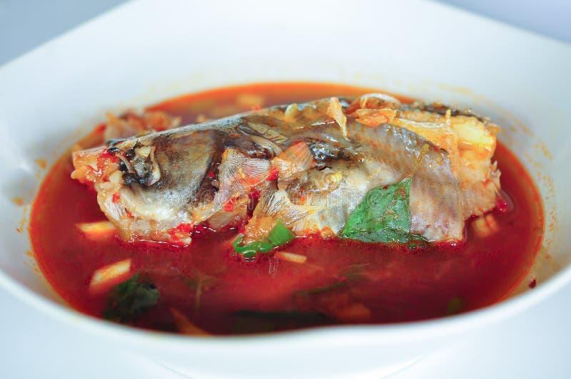Pindang Patin是鱼汤用从巴邻旁的调味汁传统食物 免版税图库摄影