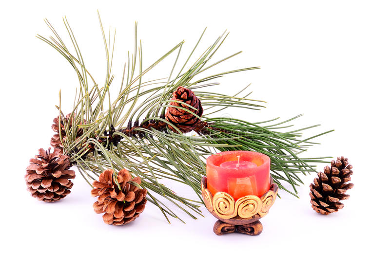 Download Pine Branch With Cone And Candle Stock Photo - Image: 27639116