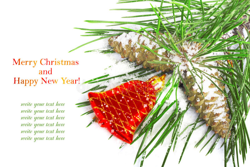 Download Pine Branch With Cones And Red Christmas Bell Stock Image - Image: 33583999